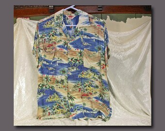 Vintage Sears, Roebuck & Co., Pilgrim Brand Rayon Hawaiian Style Men's Shirt c. 1949