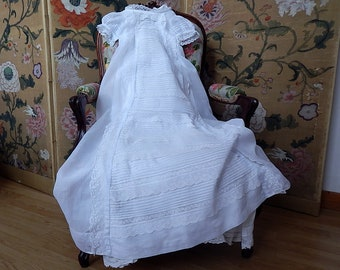 RESERVED FOR ALICE 2nd Payment of 4 Heirloom French Vintage Christening Gown in Finest Lawn with Lace, Embroidery...and a Petticoat