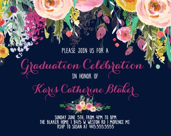 Graduation Party Invitation, Floral Graduation, Graduation Photo Printable Invitation, graduation announcement, navy and pink, sublime