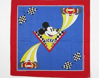 Vintage Mickey Mouse Bandana Walt Disney Print Handkerchief Made in USA