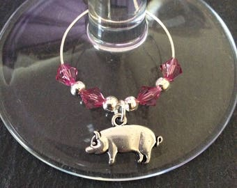 Pig wine glass charm / animal wine glass charms / wine charms / wine glass decor / animal lover gift / wine lover gift