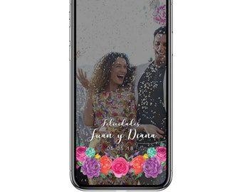 Fiesta Wedding Geofilter Colorful Flowers