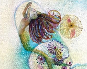 EBULLITION Mermaid Decor, Mermaid Print, Sea Nymph, Mermaid wall art, Mermaid art, Coastal Beach Home Decor