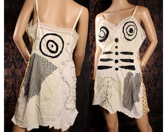 Tank Girl Slip Dress, Wasteland skeleton bones sundress, upcycle vintage white slip, festival fashion, patchwork voodoo babydoll dress