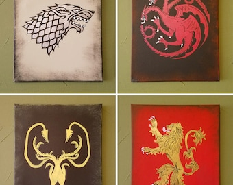 Hand Painted Game of Thrones Style Sigils on Stretched Canvas 11x14 inches