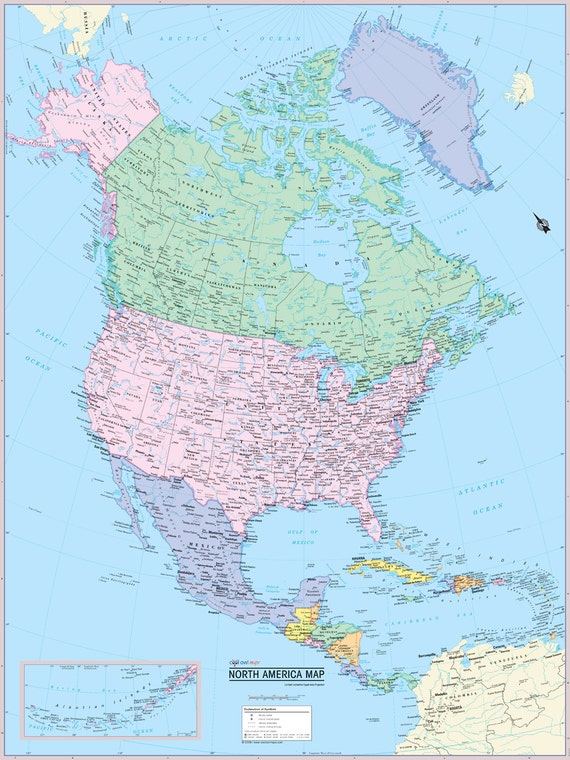 North America Continent Map Wall Poster 24x32