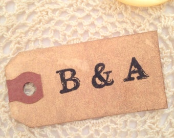 50 Small Wedding Favor Gift Tag. Vintage Boho Bohemian Name Place Card. Escort Card. Custom. Personalized. Monogram. Wish Tree. Vintage Hang