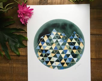 Abstract art print, Mountain, Blue, cream, black, triangle, circle,   watercolor painting, illustrated,  archival,  design
