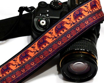 Lucky Elephants Camera Strap. Personalized Camera Strap.  DSLR Camera Strap. Canon, Nikon Camera Strap. Women Accessories. Gift Idea