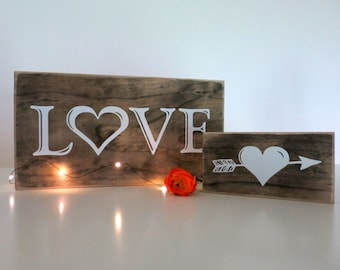 LOVE Sign - Rustic Wood Love Sign for your Home, Nursery, Garden Wedding, Country Wedding, Farm Wedding, Outdoor Wedding or Rustic Wedding