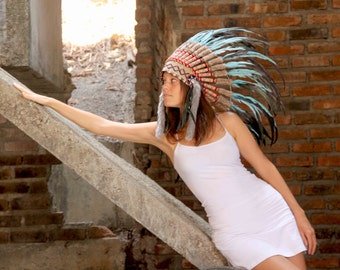 ON SALE Feather Indian headdress replica, turquoise feather headpiece, native american inspired, short length