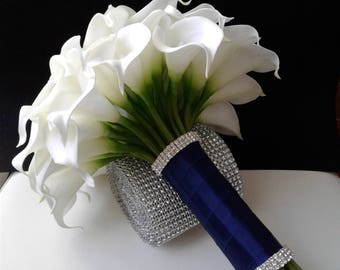 White and Navy Blue Real Touch Calla lily Wedding Bouquet
