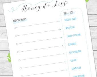 Honey do list, when you do this ... you get this, list of chores, printable, blue.