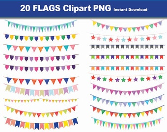 INSTANT DL- 20 Bunting Flags Clipart- 20 high res PNG  Bunting Clip Art