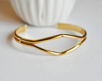 Adjustable brass cuff Bangle Bracelet