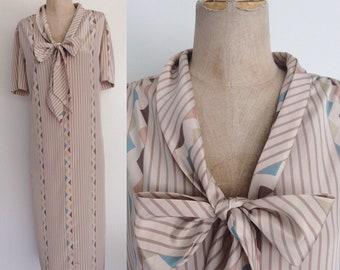 1980's Geo Stripe Ascot Bow Shift Dress Size XL XXL by Maeberry Vintage