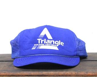 Vintage Trucker Hat Snapback Hat Baseball Cap Triangle Building Supply Construction Hardware Store Lumber