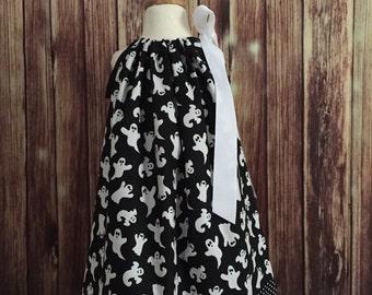 Halloween pillowcase dress, Pillowcase dress for Halloween, Halloween dress in black with white ghost, Black and white pillowcase dress