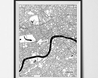 London Map Print, London Poster of England Map of London Print, London Gift, UK Map London England Art, Giclee Print Office Decor UK Gift