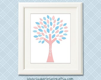Blue and pink tree nursery art Print, 8x10, nursery wall art, Kids Room Decor, tree, baby blue, light  pink