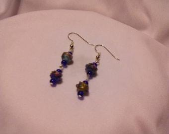 Cobalt Blue Chinese Eye Glass Dangle Earrings