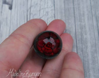 Everlasting Deep Red Rose Marble, unusual gift, collectible glass art, Red Rose, Valentine Rose, gift for her, sphere, lampwork, flower