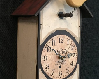 Bird House Clock-Carved Birds