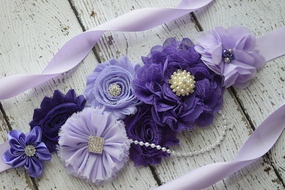 Maternity sash belt, Shades of purple Sash, #2 , sash,  flower Belt, maternity sash, baby shower gift