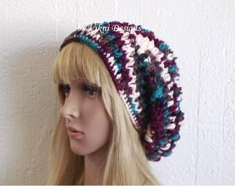 Antique Crochet Slouchy Hat, Crochet Womens Slouchy Hat Beanie, Womens Knit Beanie, Winter Hat by Vikni Designs