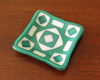 Fused Glass Dish with Geometric White and Teal Design