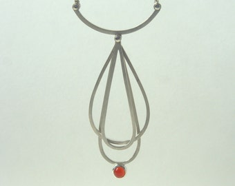 Riveted Whisk Inspired Carnelian Necklace