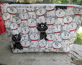 Zippered Pouch | Makeup Bag | Lined Zipper Bag | Crazy Cat Fabric | Cute Cat Fabric Makeup Bag | Small Gift Under 20 | Camera Accessory Bag