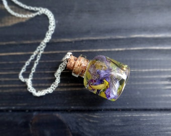 Spring forest pressed flower necklace gift for best friend jewelry resin yellow purple glass pendant bottle necklace wild witch violet petal