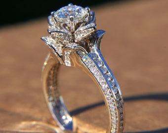 Gorgeous UNIQUE Flower Rose Diamond Engagement Ring 195