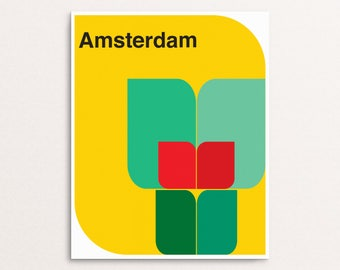 Amsterdam - Sixties or Mid Century Modern Geometric Graphic Design Art Print