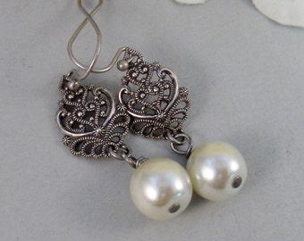 Allie,Silver Earrings,Pearl,Antique,Vintage Style,Wedding,Bride,Antique Earrings,Pearl Earrings. Handmade jewelery by valleygirldesign
