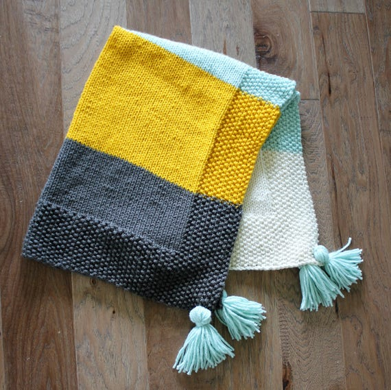 PDF Knitting Pattern, Simple baby blanket, beginner knitting baby ...