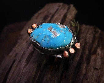 Intense Blue Turquoise Ring- Cripple Creek Turquoise- Silver and Copper Ring