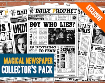 Harry Potter Magical Newspaper Collector's Pack Printable - Harry Potter Newspaper Daily Artwork Poster Prophet Decoration