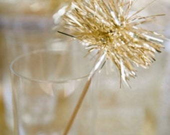 Set of 25 | Gold and/or Silver Tinsel Drink Stirrers or Cake Toppers