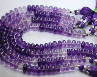 8 Inches Strand,Natural Purple Amethyst Smooth Polished Rondelles 7.5-8mm