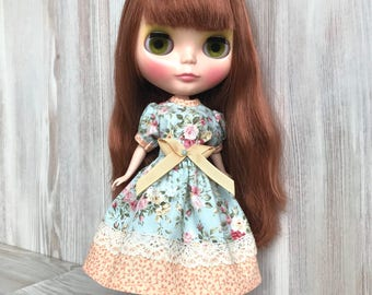 Blythe mint floral dress, doll clothes, doll outfit, 30 cm dolls clothes, 12 inch doll dress, Pullip dress, doll dress, blythe clothing