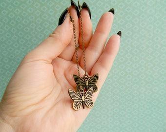 Long Butterfly Earrings Dangle Chain Earrings Bronze Earrings Minimalist Earrings Nature Lover Gift for women Elegant Earrings Sister gift