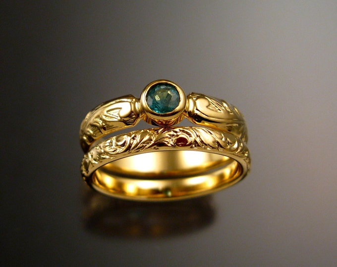 Emerald Wedding set 14k Yellow Gold Victorian floral pattern bezel set stone two ring set made to order in your size