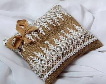 Wedding Ring Pillow, Ring Bearer, Rustic Wedding, Lace, Beautiful Ring Holder