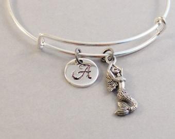 Pretty Mermaid,Bracelet,Bangle,Mermaid Bracelet,Mermaid Bangle Bracelet.Silver Bracelet,Mermaid Jewlery,Personalize valleygirldesigs