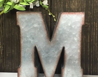Metal Letters-Galvanized-Ampersand-home-wall decor-Personalized Letter-Tin Letter-Loft Decor-Industrial Decor-Dorm Decor-Wall Letter-A -Z