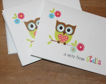 SALE Super Cute Owl Note Cards Stationery Green Pink Brown Owl ~ Thank you cards ~ notes ~ Christmas Polyanna ~ teacher appreciation gift