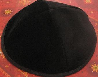LOT OF 2 KIPPA size: 18cm / 21cm Black Yarmulke Kipa Kippah skullcap cap
