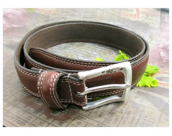 Brown Leather belt - unisex belt - Dockers Belt -  men's belt , man's belt , dress belt , silver buckle belt, size 34 ,  # B 23